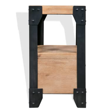 vidaXL Cadre de lit et 2 tables de chevet Acacia Acier 180 x 200 cm[10/14]