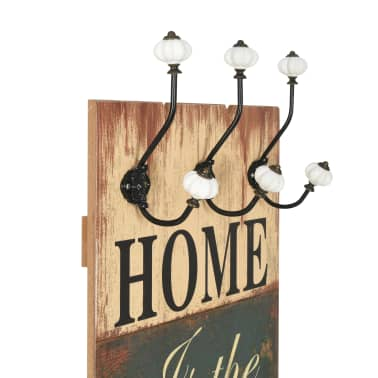 vidaXL Wall-mounted Coat Rack with 6 Hooks 120x40 cm HOME IS[4/7]