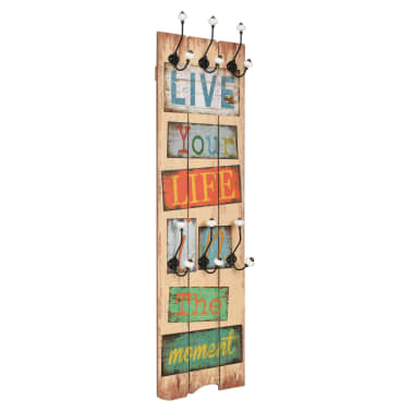 vidaXL Wall-mounted Coat Rack with 6 Hooks 120x40 cm LIVE LIFE[1/6]
