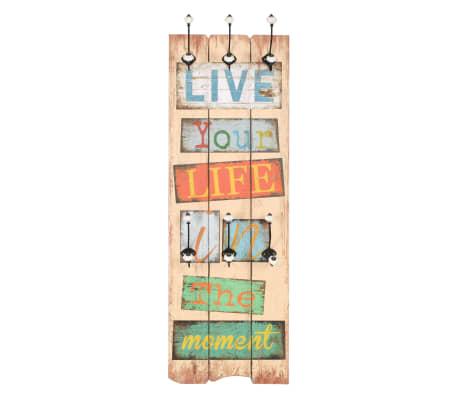 vidaXL Wall-mounted Coat Rack with 6 Hooks 120x40 cm LIVE LIFE[2/6]