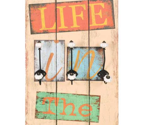 vidaXL Wall-mounted Coat Rack with 6 Hooks 120x40 cm LIVE LIFE[4/6]