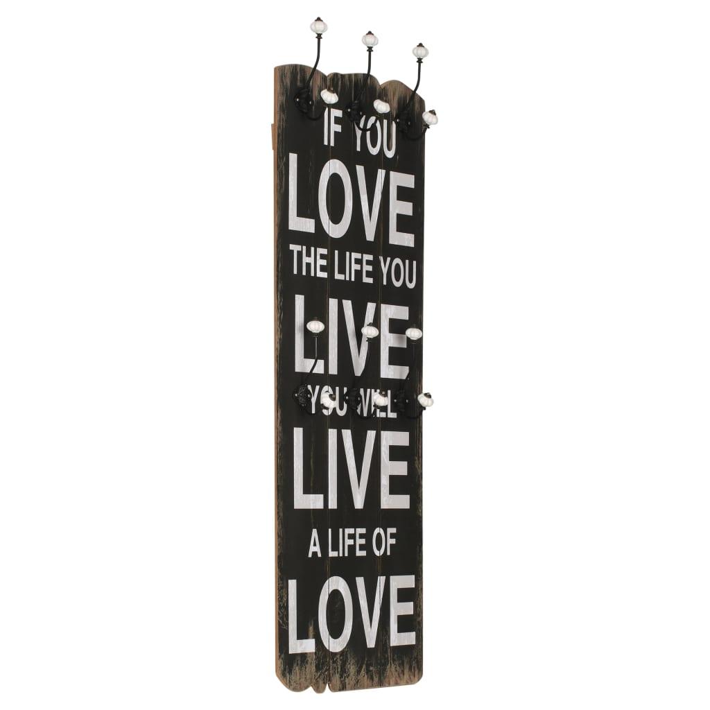 Nástěnný věšák na kabáty LOVE LIFE s 6 háčky 120 x 40 cm