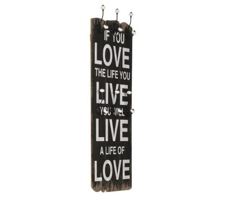 vidaXL Wandkapstok met 6 haken LOVE LIVE 120x40 cm