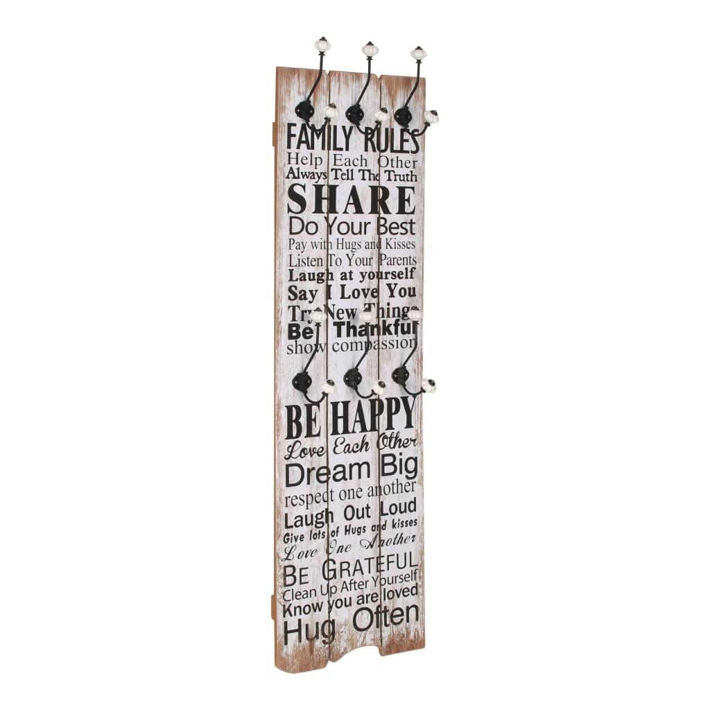 Nástěnný věšák na kabáty FAMILY RULES s 6 háčky 120 x 40 cm