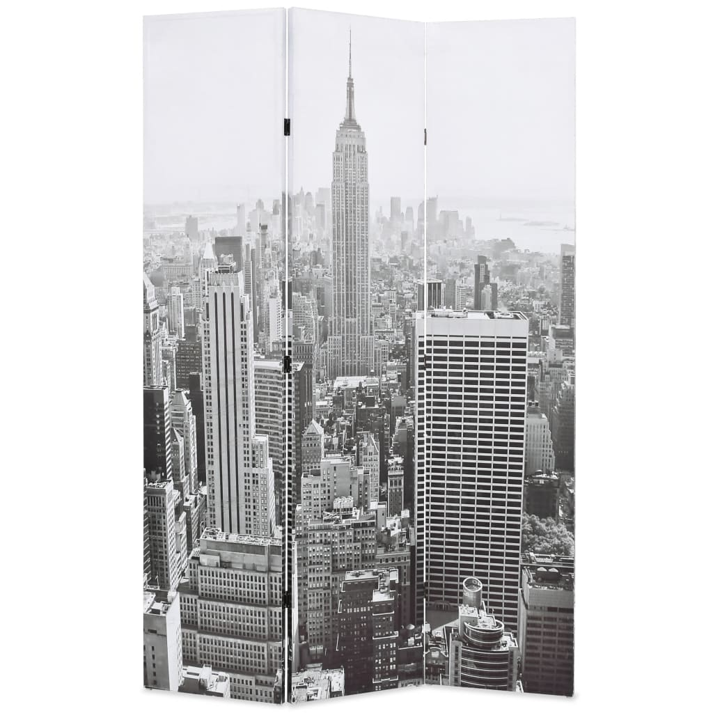 vidaXL Skládací paraván 120 x 180 cm New York by Day černobílý