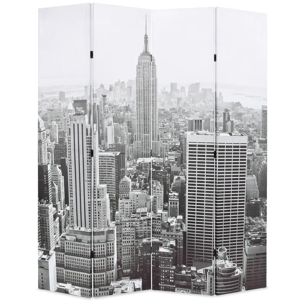 vidaXL Paravan cameră pliabil, 160x170 cm, New York pe zi, alb/negru poza 2021 vidaXL