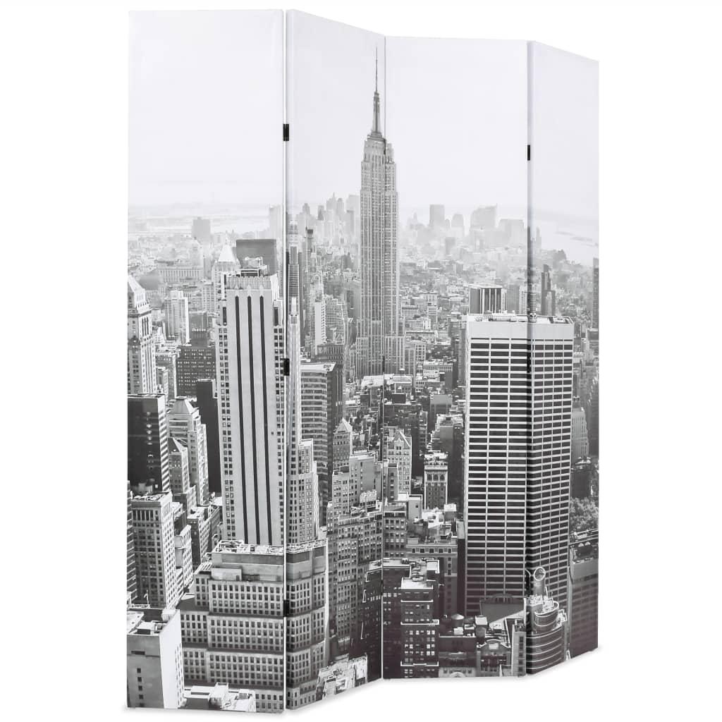 99245858 Raumteiler klappbar 160 x 180 cm New York bei Tag Schwarz-Weiß