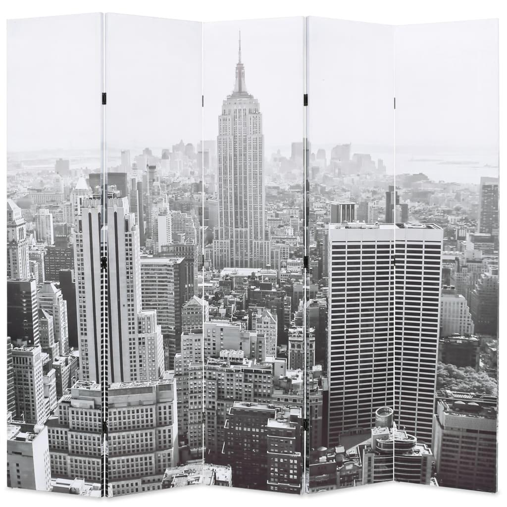 vidaXL Skládací paraván 200 x 180 cm Denní New York černobílý