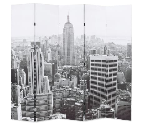vidaXL Kambario pertvara, 200x170 cm, Niujorkas dieną, juoda ir balta[1/5]