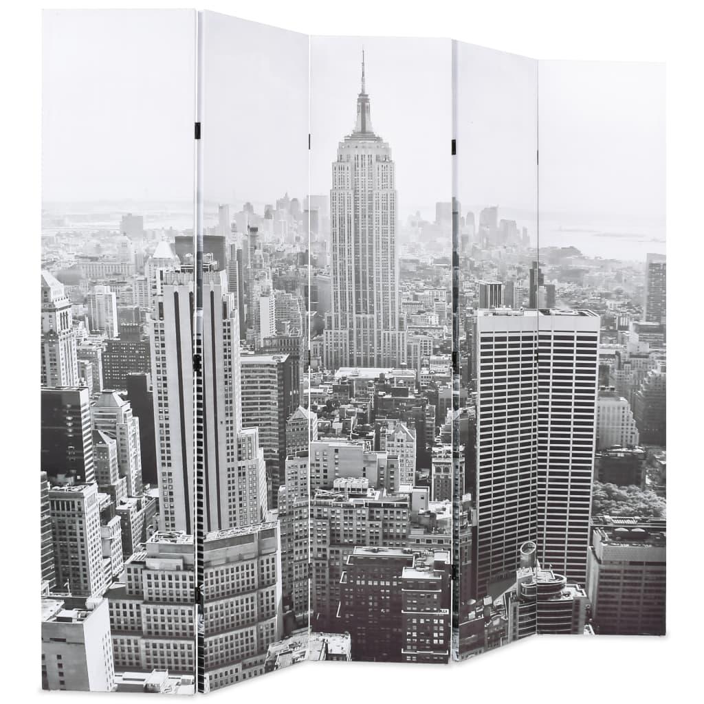 999245859 Raumteiler klappbar 200 x 170 cm New York bei Tag Schwarz-Weiß
