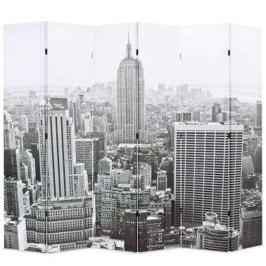 vidaXL Raumteiler klappbar 228 x 170 cm New York bei Tag Schwarz-Weiß[1/5]