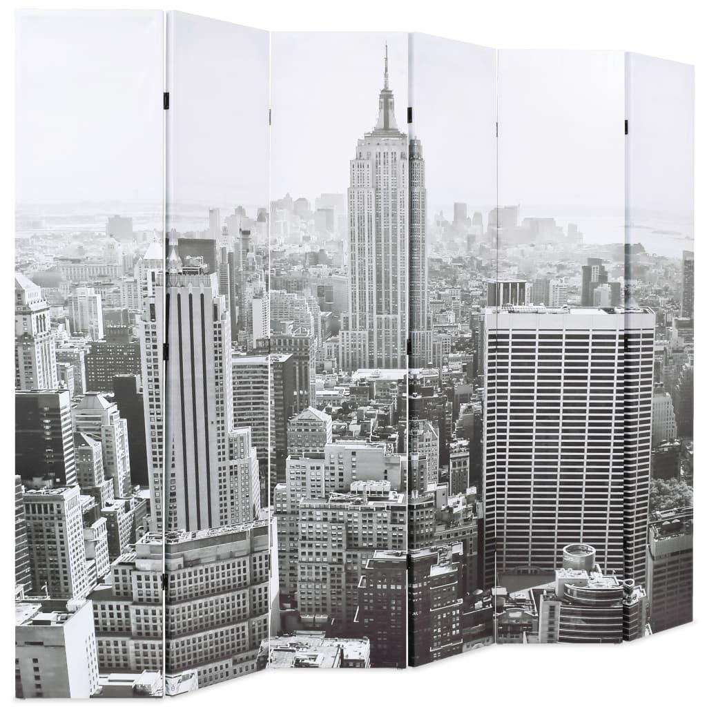 99245860 Raumteiler klappbar 228 x 180 cm New York bei Tag Schwarz-Weiß