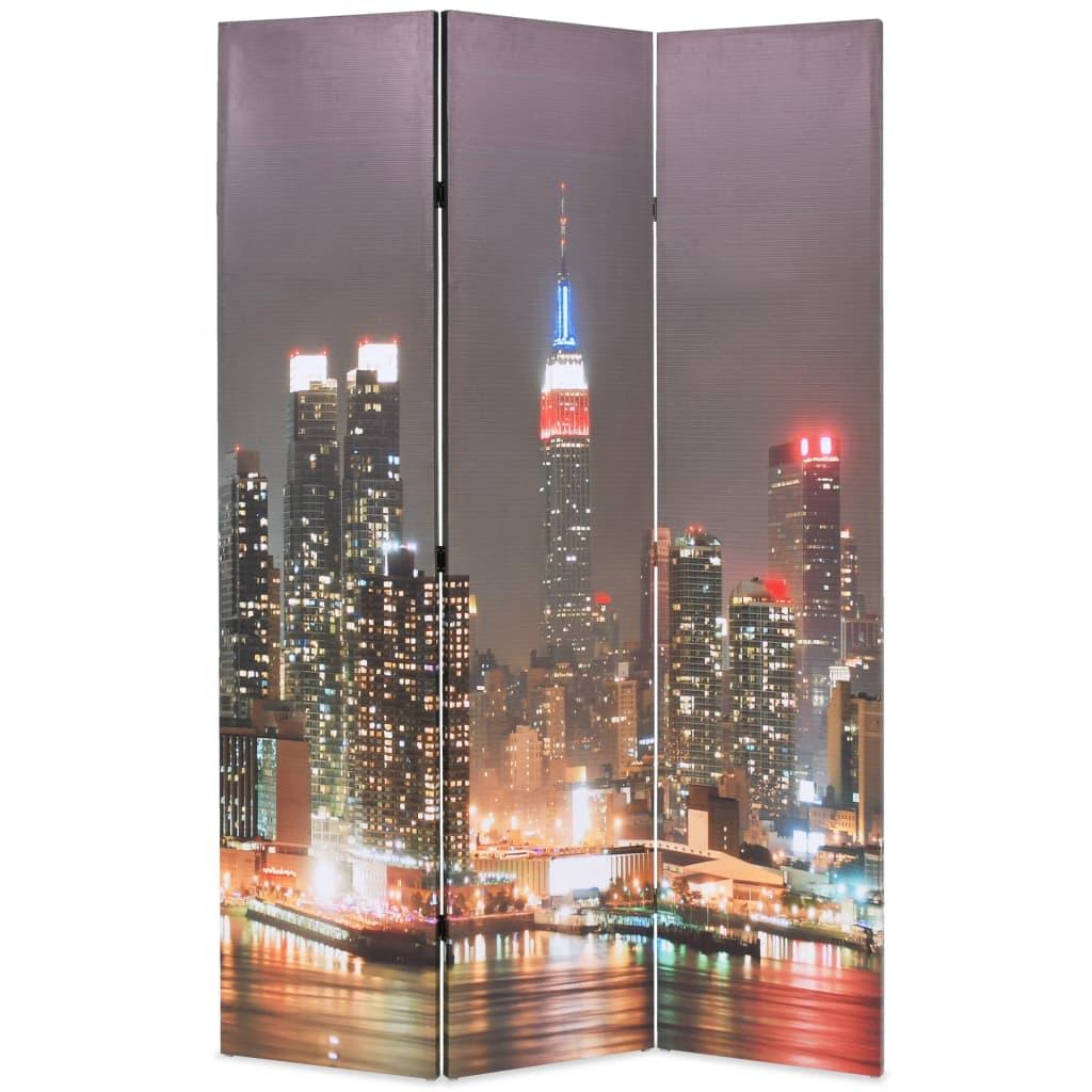 vidaXL Paravan cameră pliabil, 120x170 cm, New York pe timp de noapte vidaxl.ro