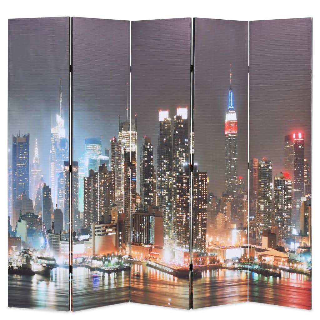 vidaXL Paravan cameră pliabil, 200x170 cm, New York pe timp de noapte