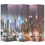 vidaXL Biombo divisor plegable 228x170 cm Nueva York de noche