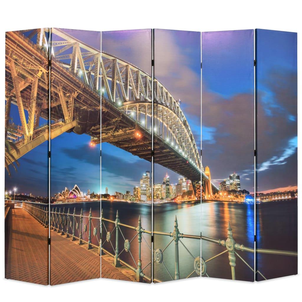 vidaXL Paravan de cameră pliabil, 228 x 170 cm, Sydney Harbour Bridge vidaxl.ro
