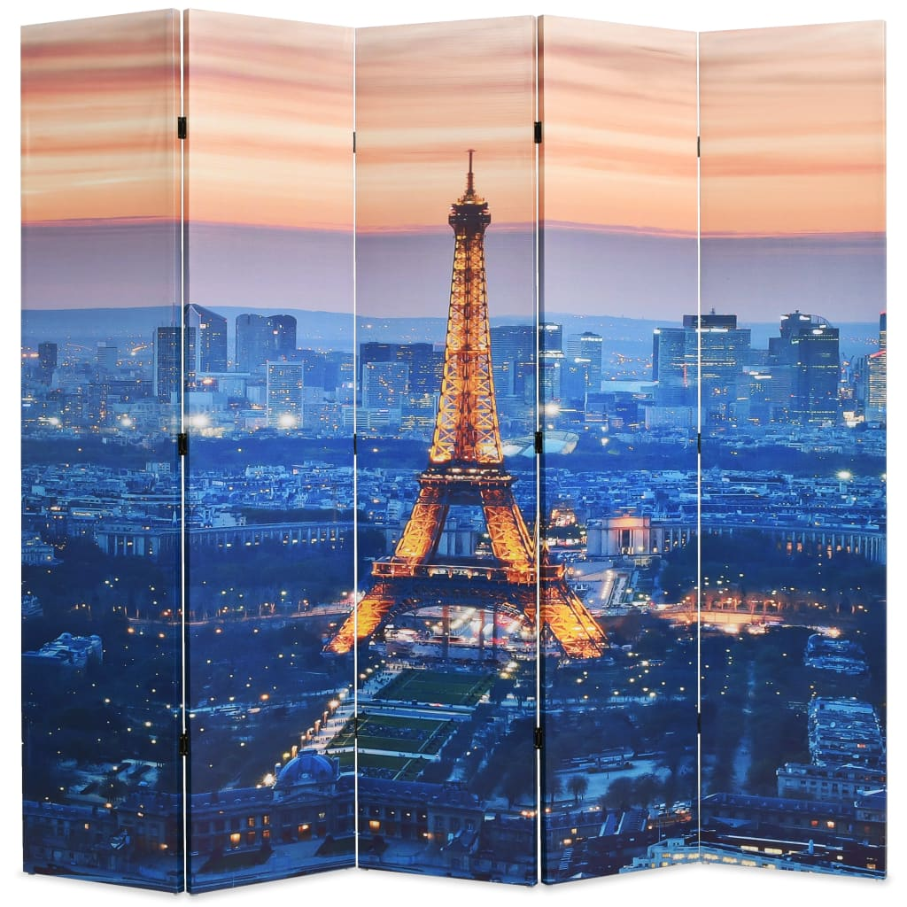 vidaXL Paravan de cameră pliabil, 200 x 170 cm, Parisul noaptea vidaxl.ro