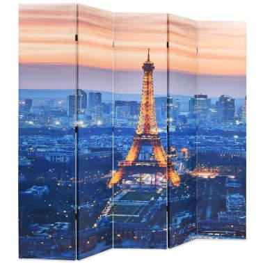vidaXL Sulankstoma kambario pertvara, 200x170 cm, Paryžius naktį[2/5]