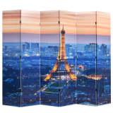 vidaXL Skladací paraván, 228x180 cm, potlač nočného Paríža