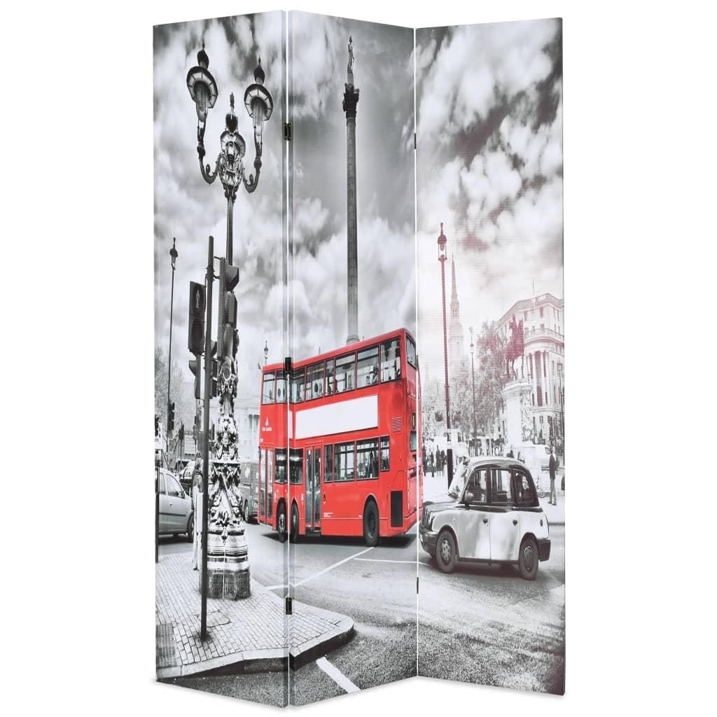 vidaXL Składany parawan, 120 x 170 cm, londyński autobus, czarno-biały