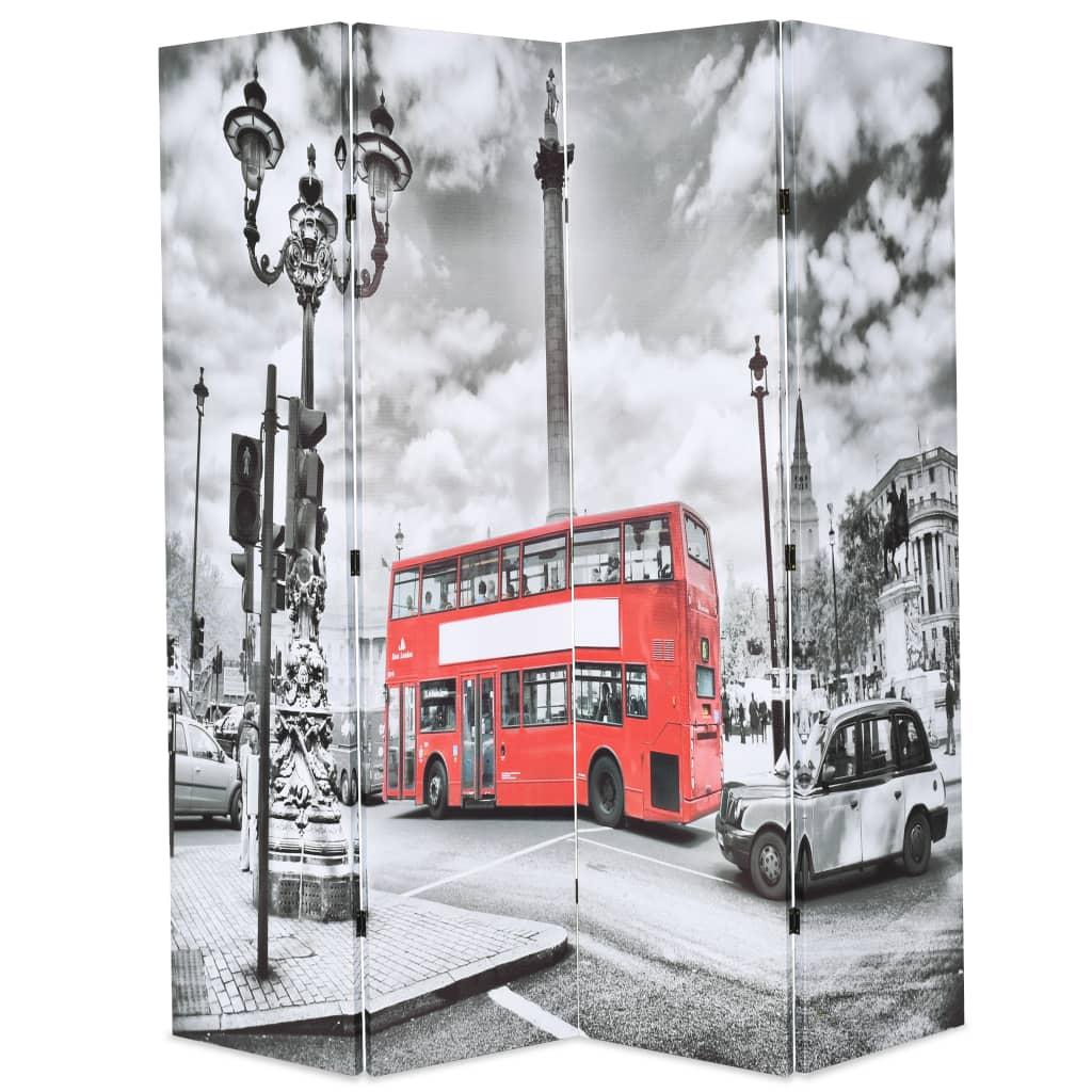 vidaXL Διαχωριστικό Δωματίου Πτυσσόμενο Λονδίνο Ασπρόμαυρο 160×180 εκ.