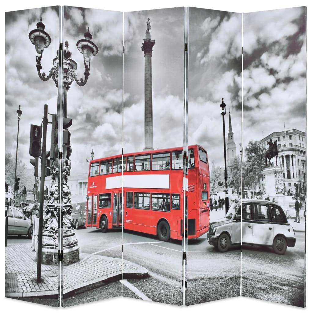 vidaXL Paravan cameră pliabil, 200x170 cm, autobuz londonez, negru/alb vidaxl.ro