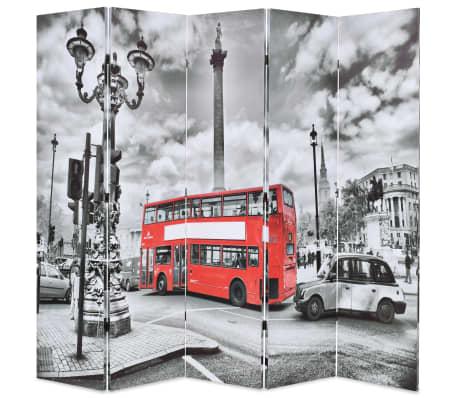 vidaXL Kambario pertvara, 200x170 cm, Londono autob., juoda ir balta[1/5]