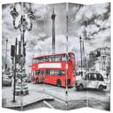 vidaXL Biombo divisor plegable 200x170 cm bus Londres blanco y negro