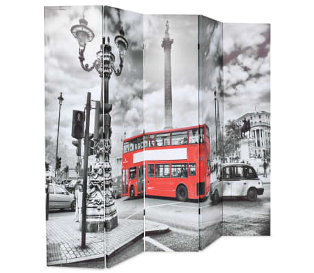 vidaXL Kambario pertvara, 200x170 cm, Londono autob., juoda ir balta[2/5]