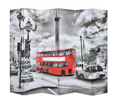 vidaXL Kambario pertvara, 228x170cm, Londono autob., juoda ir balta[1/5]