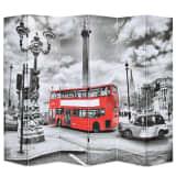 vidaXL istabas aizslietnis, 228x180 cm, saliekams, Londona, melnbalts