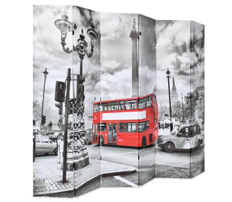 vidaXL Kambario pertvara, 228x170cm, Londono autob., juoda ir balta[2/5]