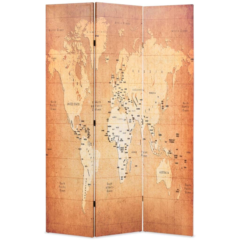 Skládací paraván 120 x 170 cm Mapa světa žlutý