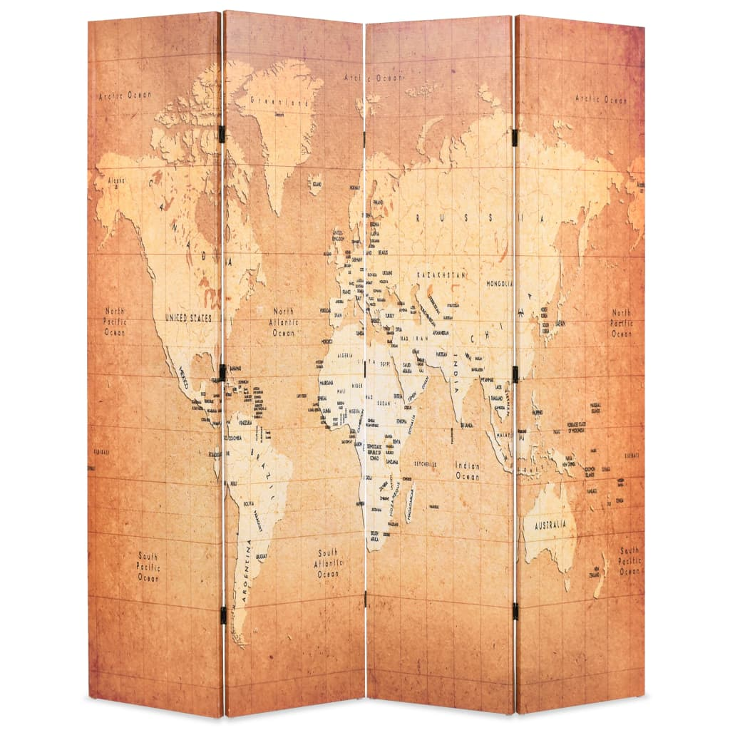 Skládací paraván 160 x 170 cm Mapa světa žlutý