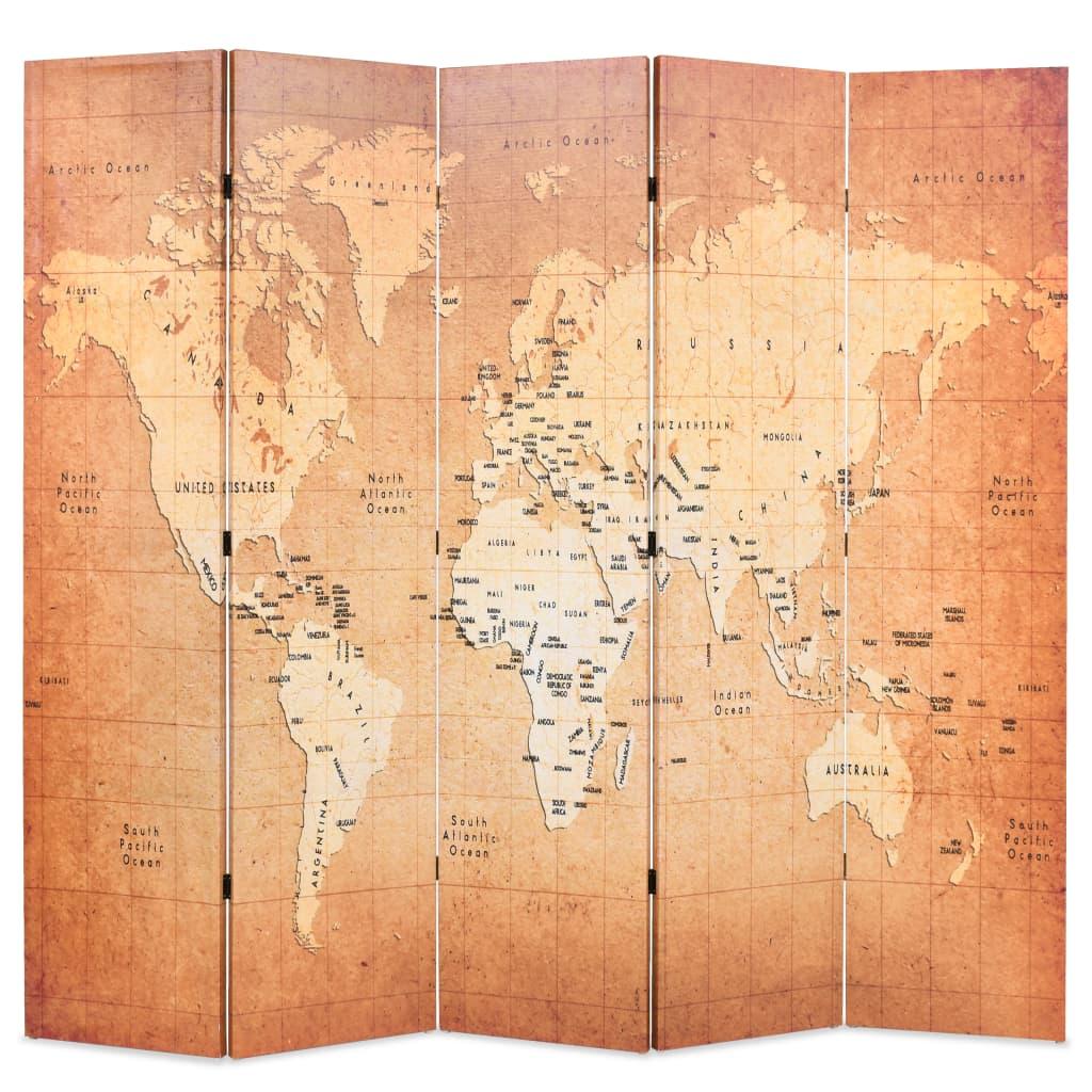 vidaXL Paravan de cameră pliabil, galben, 200 x 170 cm, harta lumii vidaxl.ro