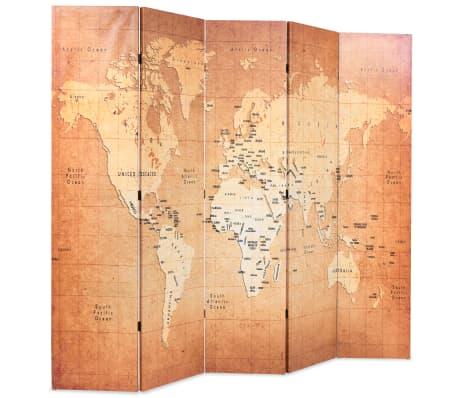 vidaXL Kambario pertvara, 200x170cm, pasaulio žemėlapis, geltona sp.[2/5]