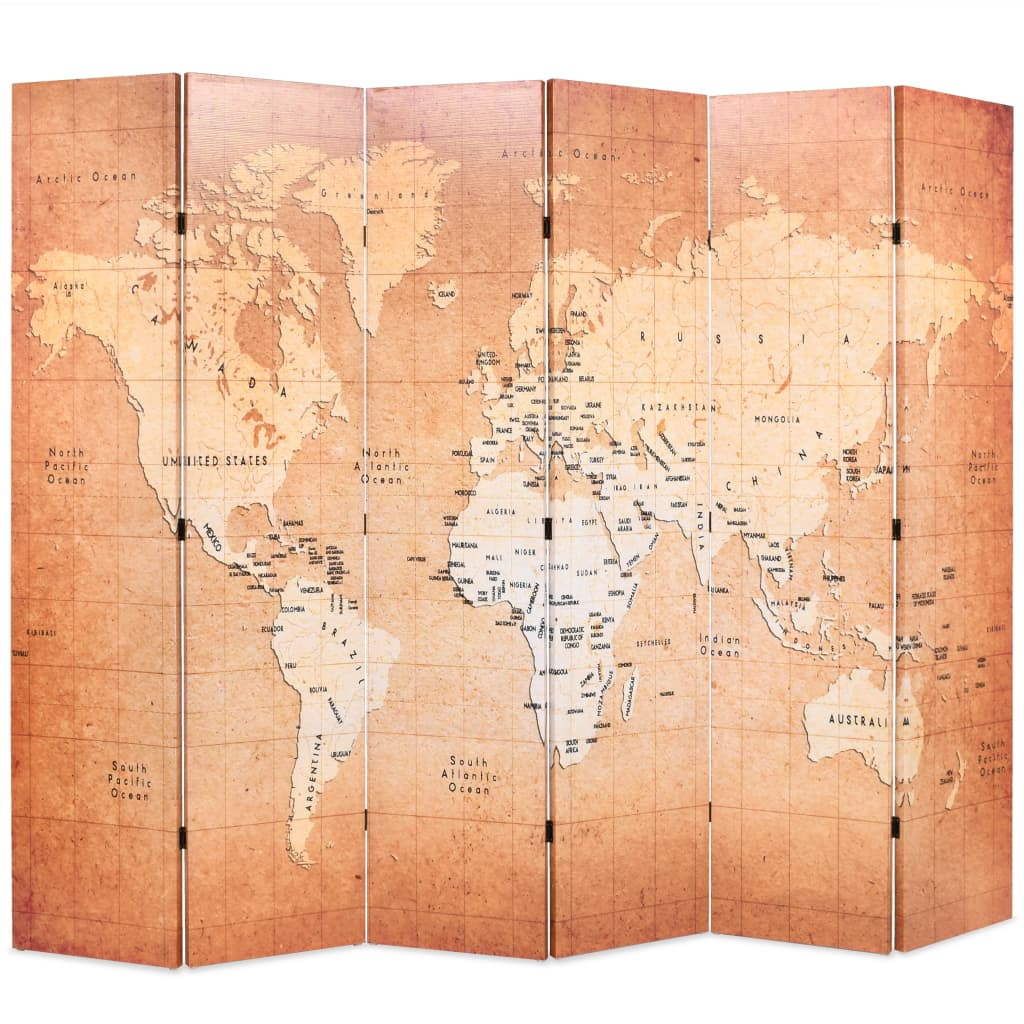 vidaXL Paravan de cameră pliabil, galben, 228 x 170 cm, harta lumii vidaxl.ro