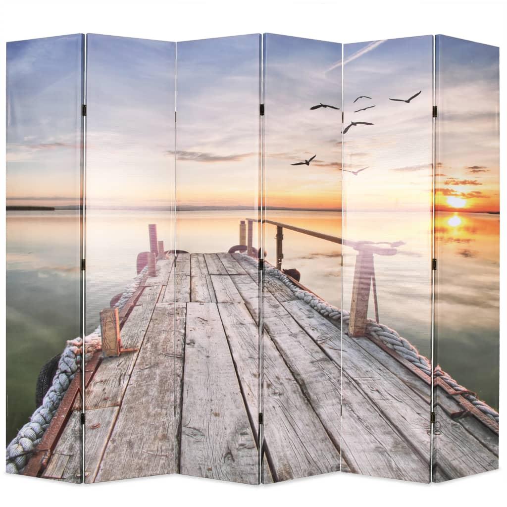 vidaXL Paravan de cameră pliabil, 228 x 170 cm, imprimeu lac vidaxl.ro