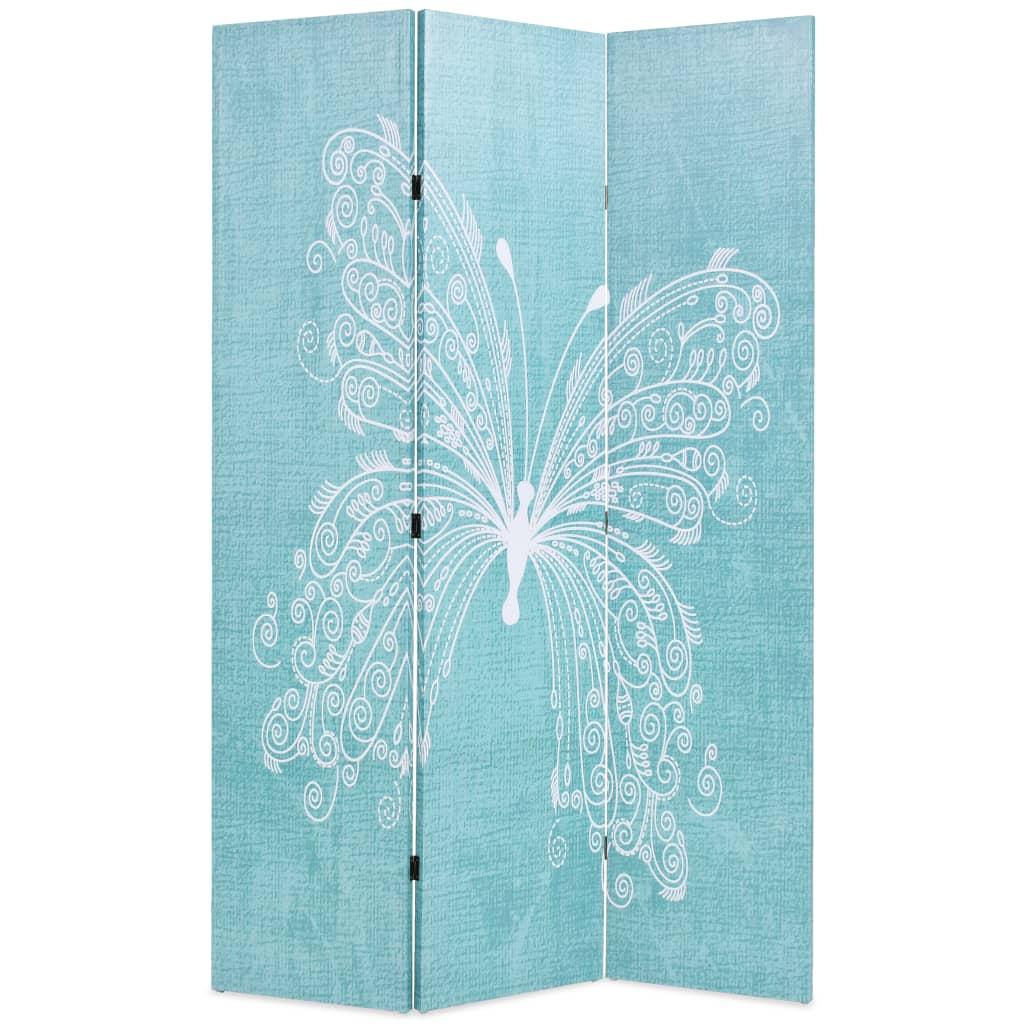 vidaXL Paravan de cameră pliabil, albastru, 120 x 170 cm, fluture vidaxl.ro
