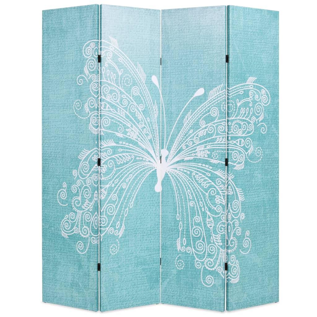 Skládací paraván 160 x 170 cm motýl modrý