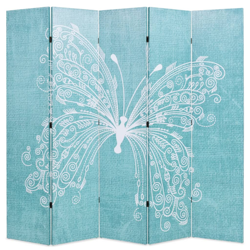 vidaXL Składany parawan, 200x170 cm, niebieski z motylem