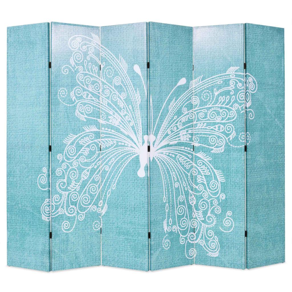 vidaXL Składany parawan, 228 x 170 cm, niebieski z motylem