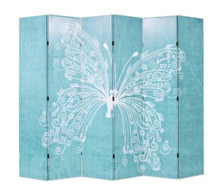 vidaXL Kambario pertvara, sulankst. 228x170cm, drugelio rašt., mėlyna