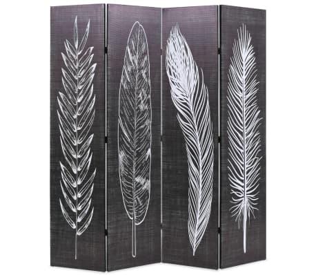 vidaXL Sammenleggbar romdeler 160x170 cm fjær svart og hvit