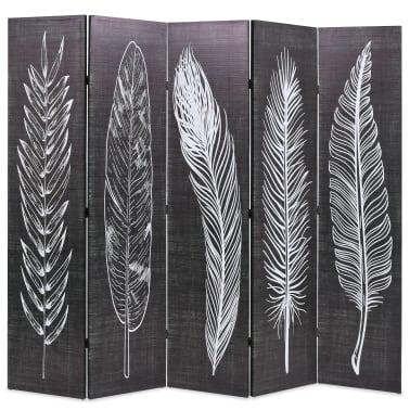 vidaXL Kamb. pertvara, sulankst., 200x170cm, juod. balt. sp. plunksnos[1/5]