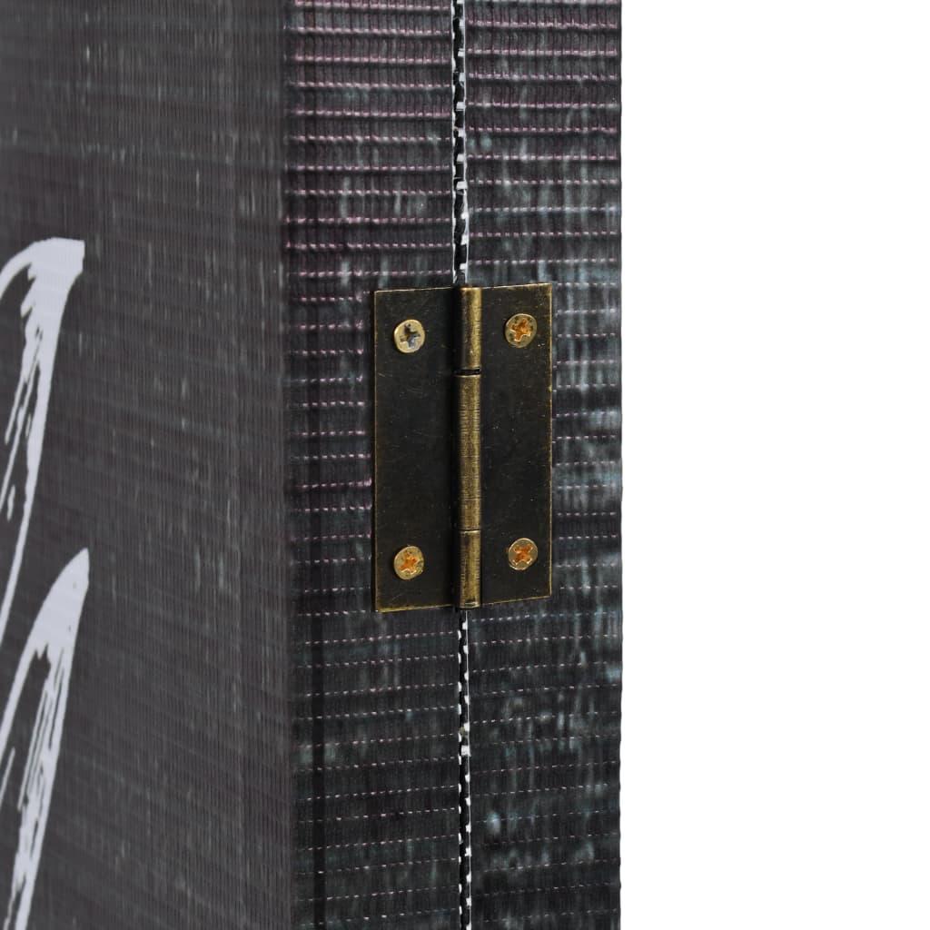 Meubles Cloison Double Face paravent en double face plumes&noir - cloison de séparation amovible -  cadre en bois&housse de toile - 5 pans - 200x170 cm