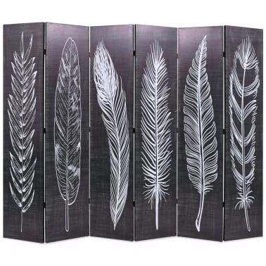 vidaXL foldbar rumdeler 228 x 180 cm fjer sort og hvid[1/5]