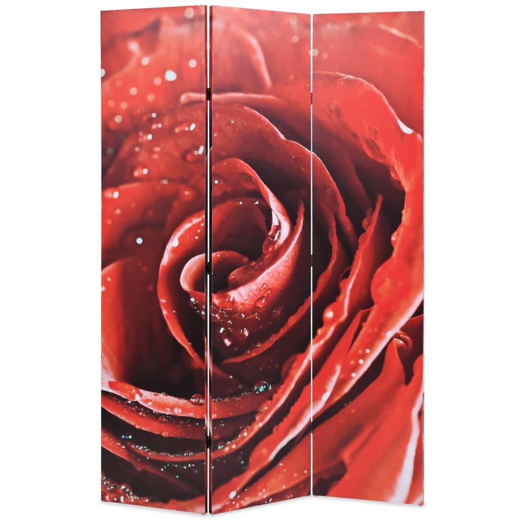Skládací paraván 120 x 170 cm růže červený