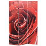vidaXL Paravento Pieghevole 120x170 cm Stampa Rosa Rossa