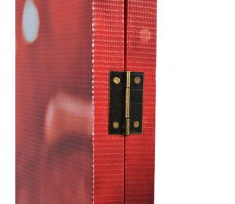 vidaXL istabas aizslietnis, 120x180 cm, saliekams, sarkans ar rozi[3/5]